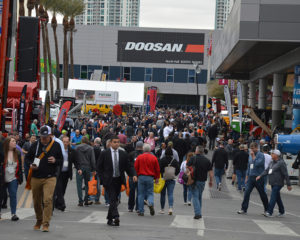 Show traffic was steady outside the Las Vegas Convention Center on the opening day of ConExpo-Con/Agg 2020. Photo: P&Q Staff