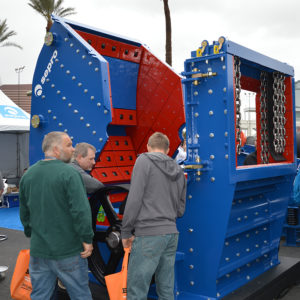 While the vibe at ConExpo-Con/Agg was unique due to coronavirus concerns, participants still took full advantage of the opportunity to explore new equipment – including this crusher from Sepro. Photo: P&Q Staff