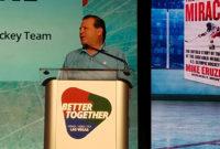 Mike Eruzione addresses the 2020 NSSGA Annual Convention.Photo: P&Q Staff