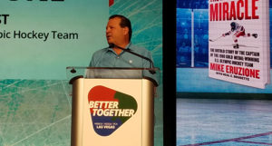Mike Eruzione addresses the 2020 NSSGA Annual Convention. Photo: P&Q Staff