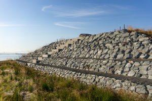 Washington Rock Quarries contributed to the landscape for the Dune Peninsula boat launch/pier. Photo: Jonathan Hart