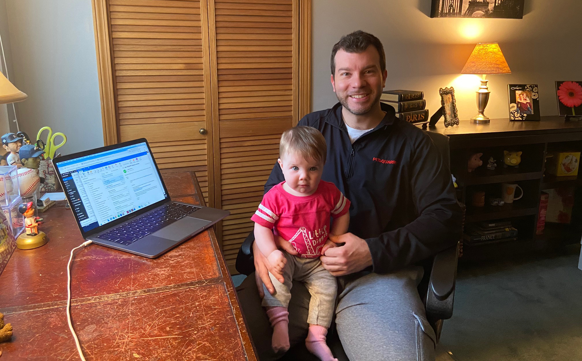 P&Q Editor-in-Chief Kevin Yanik and his daughter Amelia working from home during the coronavirus pandemic. Photo: P&Q Staff