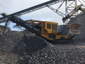 The I12 is fitted with a fabricated 43-in.-diameter, four-bar rotor on a 45-in.-wide Universal impact crusher. Photo: Anaconda Equipment