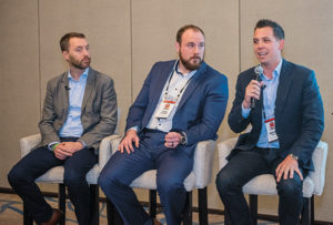 From left: Turner Mining Group's Thomas Haun, Wm. D. Scepaniak's John Scepaniak and Turner Mining Group's Keaton Turner participated in a panel discussion at the 2020 Pit & Quarry Roundtable & Conference. Photo: PamElla Lee Photography