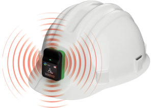 According to Triax, the main device of Proximity Trace, TraceTag, can be affixed to any hard hat or lanyard for proximity detection and contact tracing. Photo: Triax Technologies