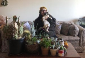 P&Q classifieds account manager Emily Adkins and her cat, Irwin, work from home. Photo: P&Q Staff