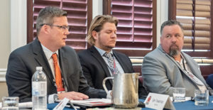 Belt Tech's Tyler Trowbridge, far left, says dealers not only need to spend time with the local operation's leaders, but with those at corporate who make decisions. Seated next to Trowbridge, from left, are Davis Industrial's Alex Garcia and Wingra Stone's Travis Wise. Photo: PamElla Lee Photography