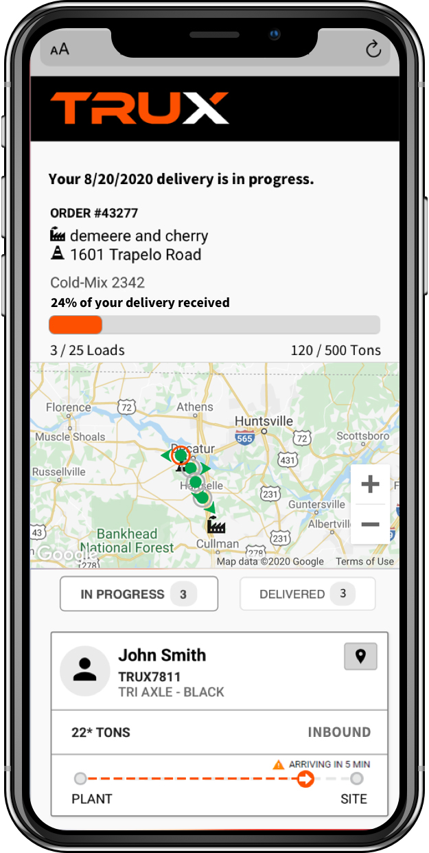 Customers can keep an eye on their deliveries through TRUX's Order Delivery Tracker, which offers ETAs on individual loads. Photo: TRUX