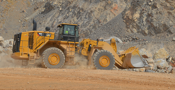 Photo: Cat loader at Staker Parsons. Photo: P&Q Staff