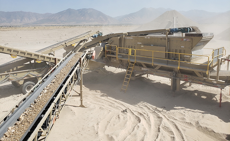 An 8-ft. x 20-ft. JCI three-deck screen, pictured at right, in action at Bolinder Resources' Rocky Ridge Pit in Tooele, Utah. Photo: Bill Royce