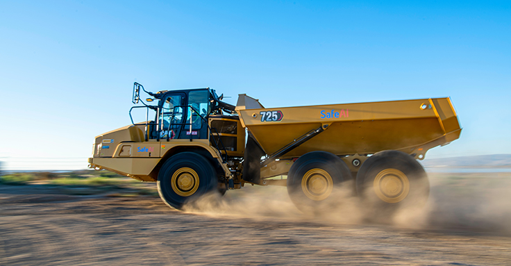 Goodyear will outfit a Caterpillar 725 articulated truck, retrofitted with SafeAI's autonomous software, to capture pressure and temperature data and monitor overall tire health. Photo: SafeAI