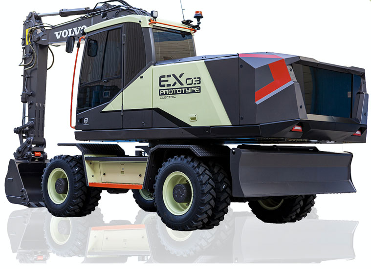 The 14-ton EX03 prototype is equipped with a battery pack from Volvo Trucks. Photo: Volvo CE