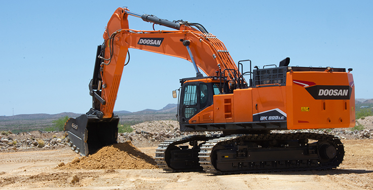 According to Doosan, DX800LC-7 customers can choose between three excavator arm options. Photo: Doosan