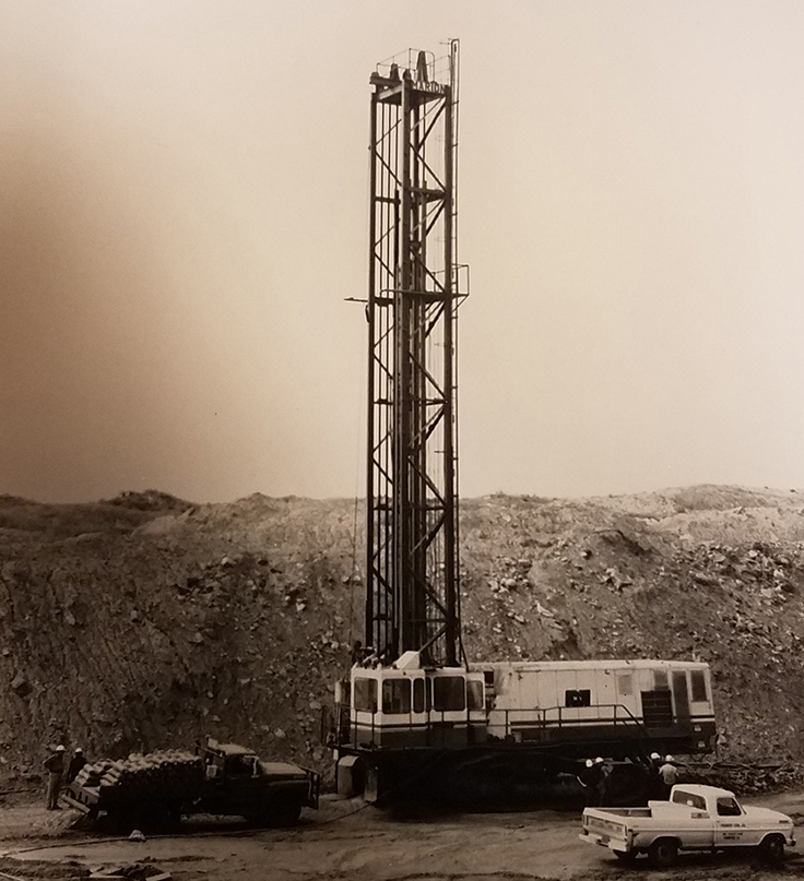 Marion Power Shovel Co.'s 15-in. M-5 blasthole drill (pictured) and its companion model, M-4, were designed for fast drilling, quick hoist and short moving and setup time.