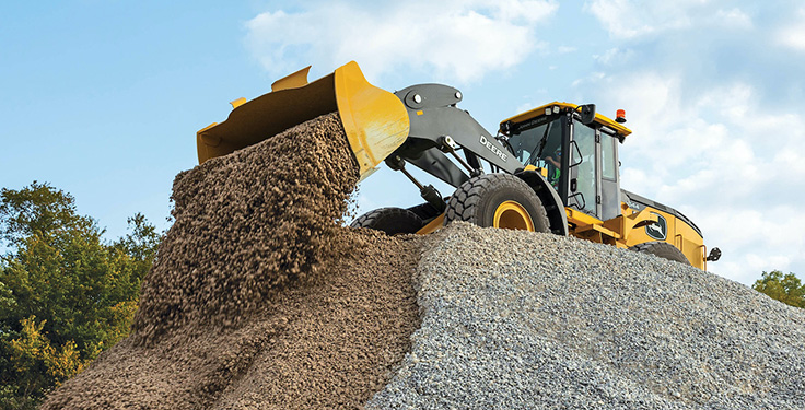 Available first on the wheel loader lineup, the performance tiering strategy provides machine solutions built for various applications and jobs designed to enhance profitability and efficiency, John Deere says. Photo: John Deere