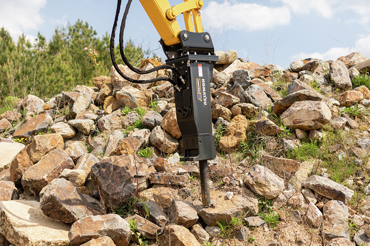 Komatsu's JMHB-H attachments are accumulator-type hydraulic breakers for a variety of rock and concrete demolition applications. Photo: Komatsu