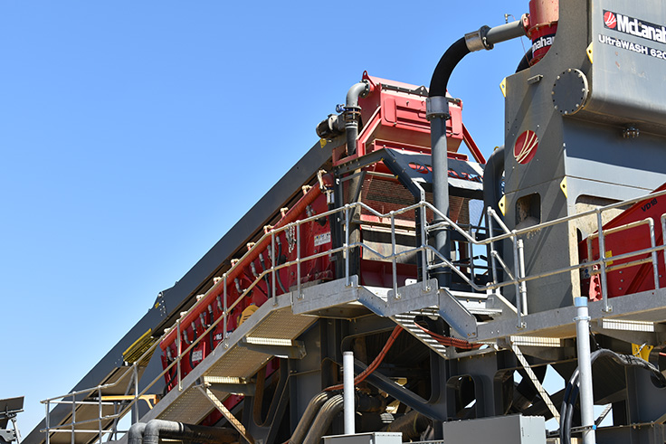 The UltraWASH features an inclined vibratory screen for sizing up to three aggregate products, as well as a sump, two pumps, two hydrocyclones and a dewatering screen. Photo: McLanahan Corp.