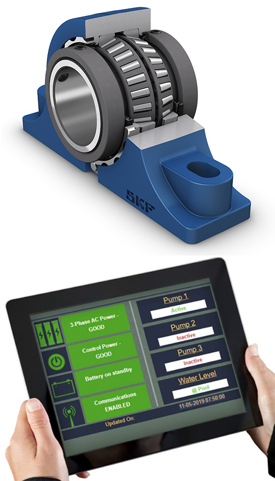 In addition to traditional items, Sykes Supply partners with suppliers to put tech advancements in front of the industry –including the new SKF sealed Type E bearing that is scheduled for launch this summer. Sykes also features Regal'sPerceptivline, technology that provides instant, web-based notifications for pump failures, power outages, phase loss and rising water to provide predictive warnings and prevent downtime. Photos: SKF (top), Regal Beloit (bottom)