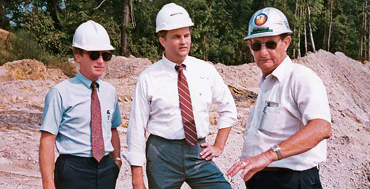 Steve Zelnak, pictured at center in 1987 at Martin Marietta's Belgrade Quarry in Maysville, North Carolina, is now with Sykes Supply. Photo: Steve Zelnak