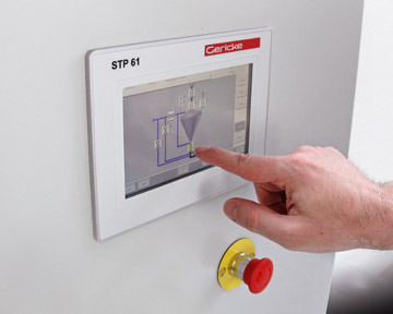 The STP 61 touchscreen pneumatic conveyor control system is available from Gericke. Photo: Gericke USA
