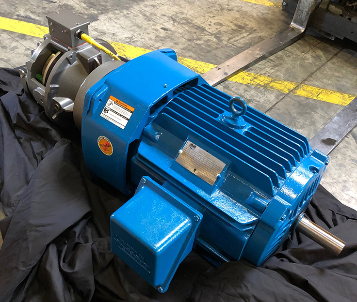 The MagnaShear motor brakes from Force Control Industries feature a quick-mount feature for quick and easy mounting to drive motors in NEMA frame sizes 56 to 449 or some IEC frame motors. Photo: Force Control Industries