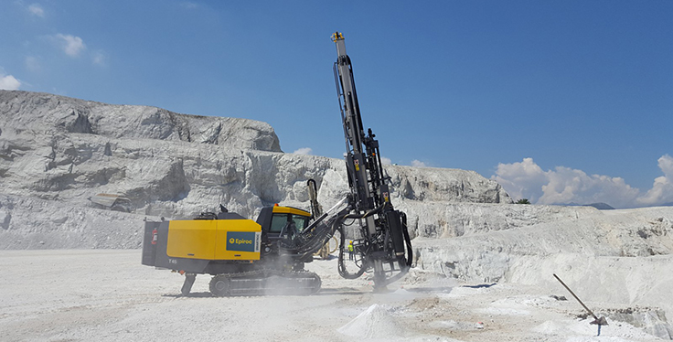 The SmartROC T45 is a top hammer surface drill rig for quarrying and construction. Photo: Epiroc