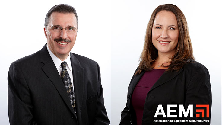 Megan Tanel, right, will take over in 2022 as Association of Equipment Manufacturers president following the retirement at year's end of Dennis Slater. Photo: AEM