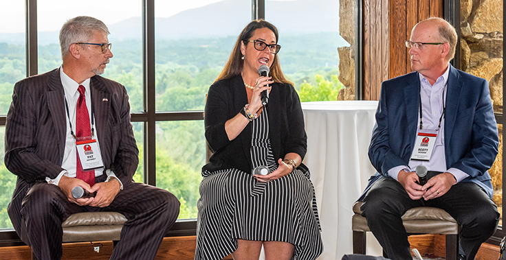Bond Construction's Karen Hubacz-Kiley, center, participated in the 2021 Roundtable panel discussion alongside Pat Jacomet of the Ohio Aggregates & Industrial Minerals Association, left, and Hanson Aggregates Southeast's Scott Dickson. Photo: PamElla Lee Photography