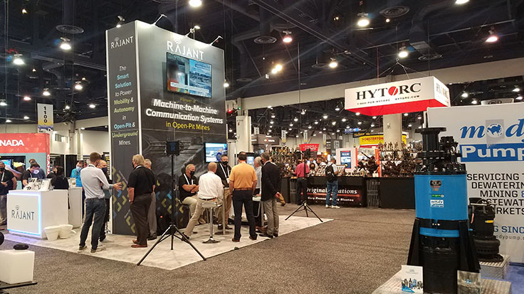 """A number of exhibitors in the North Hall noted that they were pleasantly surprised by the level of people traffic at MINExpo 2021. Although some stretches of the trade show were quieter than others, exhibitors generally remarked that the """"quality"""" of MINExpo 2021 attendees was very good. Photo: P&Q Staff"""