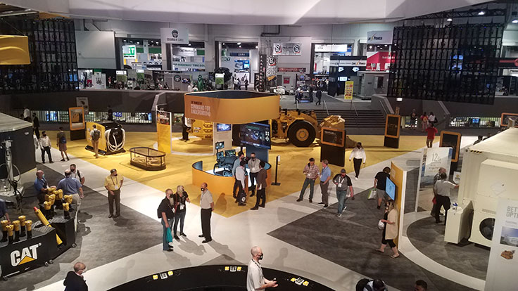 Caterpillar had a massive presence in the Las Vegas Convention Center's Central Hall, exhibiting mining equipment in drilling, hauling and more. Photo: P&Q Staff