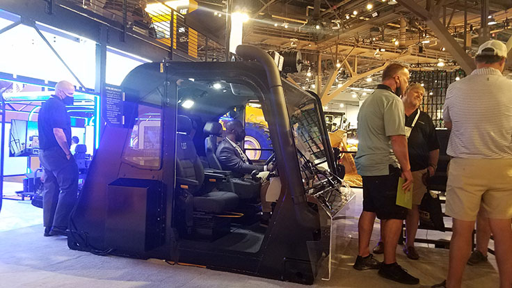 A number of interactive experiences were available at MINExpo 2021, including this one in the Caterpillar booth. Photo: P&Q Staff