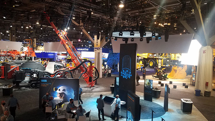 The view in Central Hall of the Las Vegas Convention Center from Sandvik's booth. Sandvik hosted a MINExpo press conference Tuesday, sharing its latest on equipment electrification and more. Photo: P&Q Staff