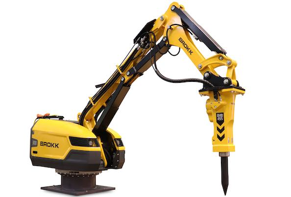 Brokk introduces the Brokk Pedestal Boom, a compact stationary breaker boom solution for the mining and aggregates industry. Photo: Brokk