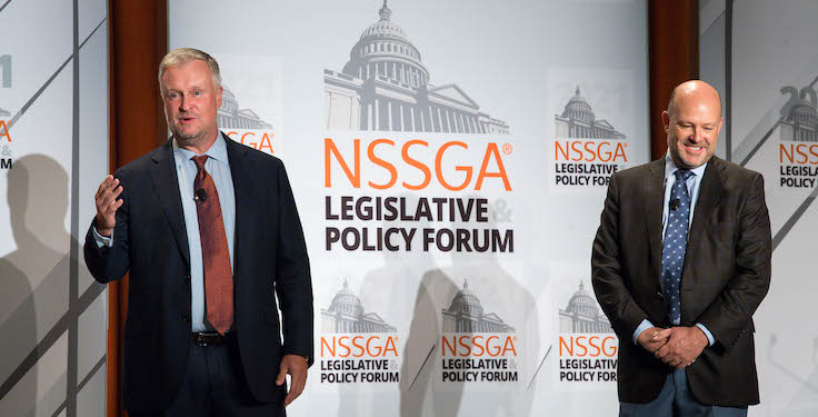 The National Stone, Sand & Gravel Association's (NSSGA) Michael Johnson, left, and Rogers Group's Darin Matson address NSSGA members during the 2021 Legislative & Policy Forum. Photo: NSSGA
