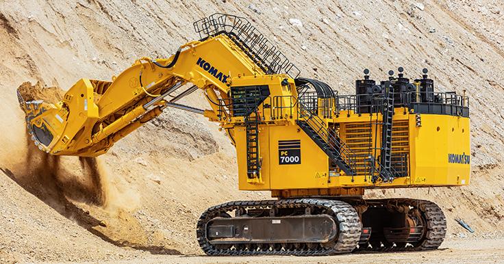 The Komatsu PC7000 excavator here tests loading capabilities at the company's proving grounds in Arizona. Photo: Komatsu