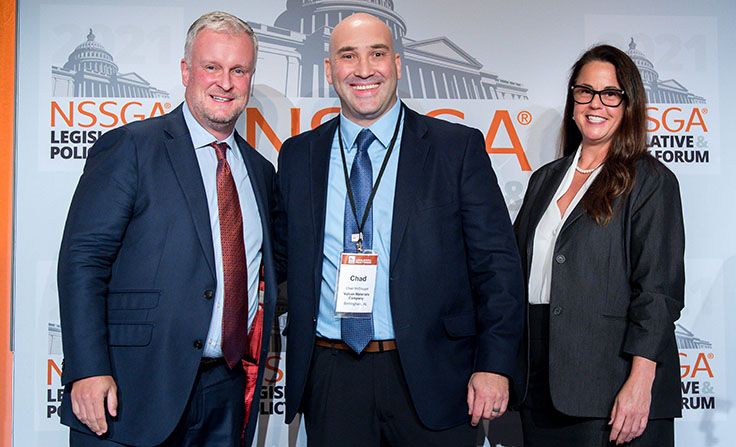 Chad McDougal of Vulcan Materials, center, was recognized at the National Stone, Sand & Gravel Association's (NSSGA) 2021 Legislative & Policy Forum in Washington. Pictured with McDougal is NSSGA's Michael Johnson and Bond Construction Corp.'s Karen Hubacz-Kiley. Photo: NSSGA