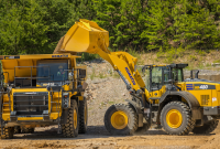 Designed to be a three-pass match for loading aggregate and other processed materials onto highway trucks, the Komatsu WA480-8 yard loader has more than 1,400 pounds of added counterweight for increased bucket capacity and stability. Photo: Komatsu